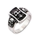 Stainless Steel Brushed Gunmetal Finish Skull Ring
