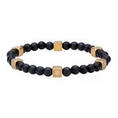 Black Hematite with Antique Steel Brass Beads Bracelet
