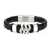 Stainless Steel and Matte Black Leather Bohemian Bracelet