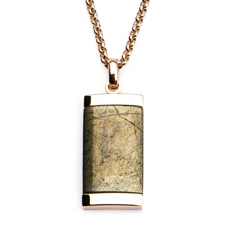 Chalcopyrite Dog Tag Pendant with Rose Gold IP Chain picture