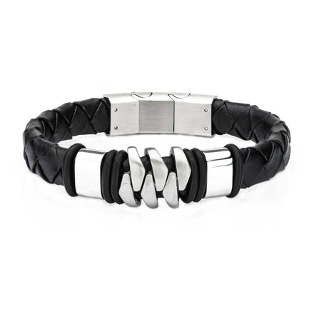 Stainless Steel and Matte Black Leather Bohemian Bracelet picture