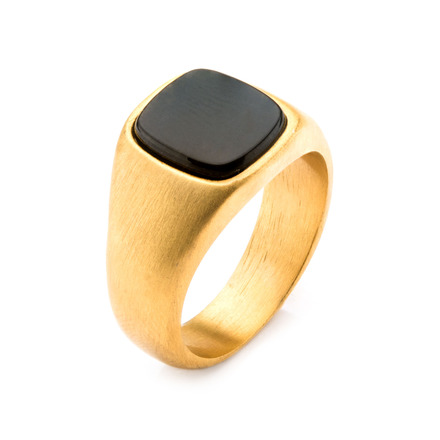 Gold IP with Hematite Signet Polished Ring picture