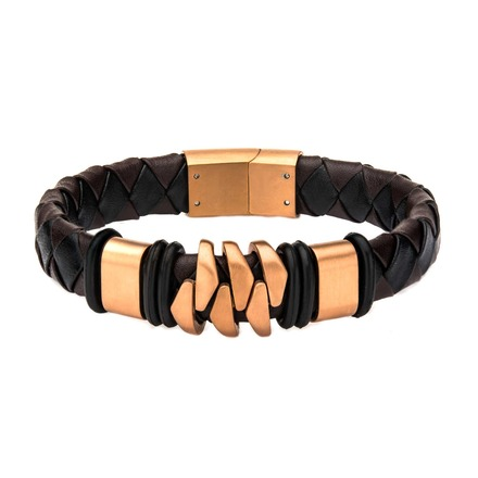 Rose Gold IP and Brown Leather Bohemian Bracelet picture