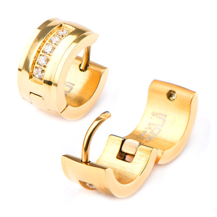 Stainless Steel Gold IP with 5 Clear CZ Gem Huggies Earrings picture