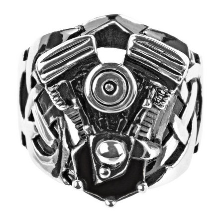Black Oxidized Ring with Large Engine Look picture