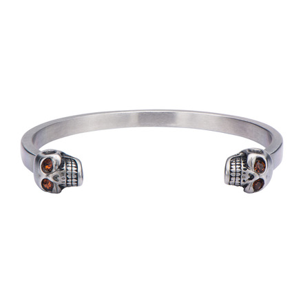 Stainless Steel Skull Ends Cuff Bangle Bangle Bracelet picture