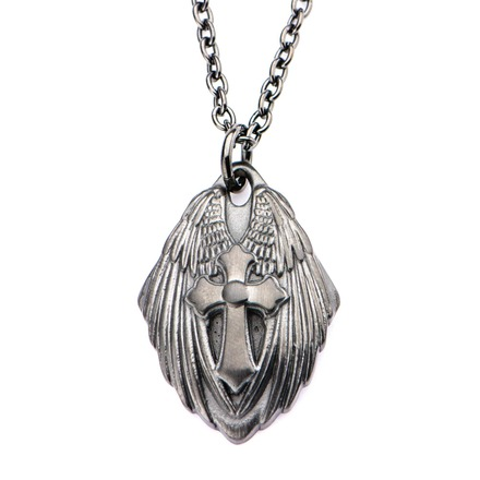 Winged Cross Shield Gun Metal IP with Chain picture