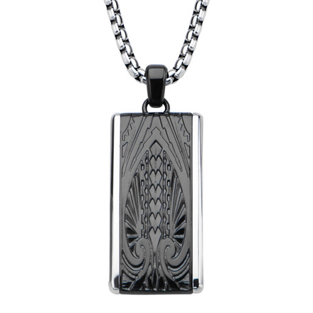 Hollis Bahringer Black IP Engrave Spade Design  with Chain picture