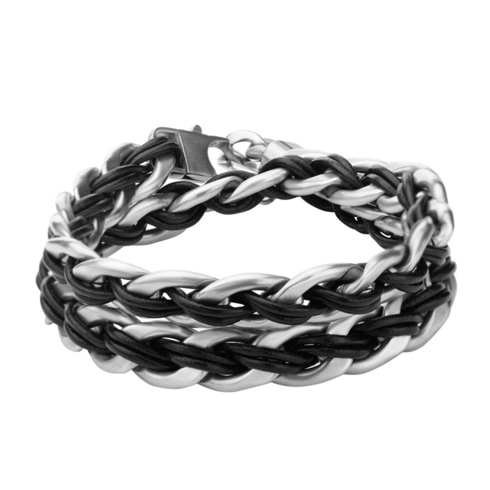 4e3db2a281ddb Curb Chain with Black Leather Thread and Anchor Charm Bracelet ...