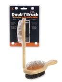 Wooden Doub 'l' Brush Large Orange/Black