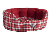 DND Oval Bed Red Tartan