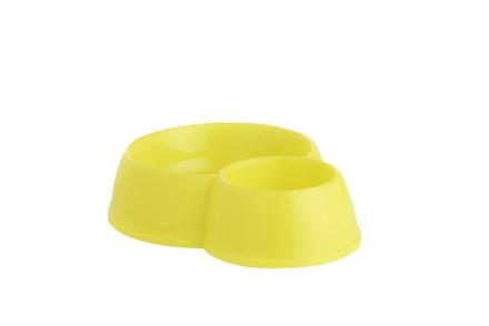 Double Cat feeding Bowl, Lemon Yellow, 12cm picture
