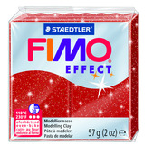 FIMO effect  modelling clay, red (glitter), box of 6