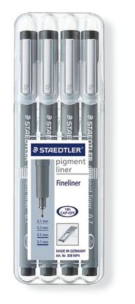 STAEDTLER pigment liner fineliner black, set of 4 picture
