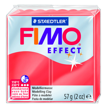 FIMO effect  modelling clay, red transparent, box of 6 picture