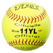 PACK OF 12 - 11`` SOFTBALL OPTIC YELLOW - COR 0.47-RED STITCHING