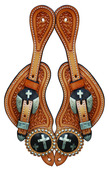 Spur Strap Basket Cross Concho Natural