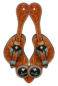 Spur Straps Floral w/Cross Concho Natural
