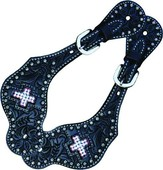 Spur Straps Black Floral Inlay Crystal Cross