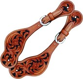 Spur Straps Ladies Floral w/ Black Background - Natural