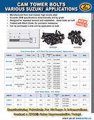 H.T. Steel Cam Tower Bolt flyer for Various Suzuki® Applications