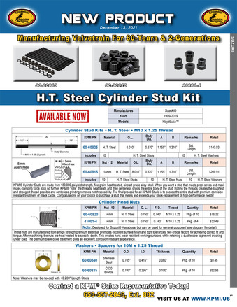 H.T. Steel Cylinder Stud Kit flyer for Suzuki® Hayabusa™ 1999-2019 picture