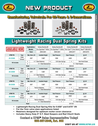 Lightweight Racing Dual Spring Kit flyer for Various HD® Applications picture