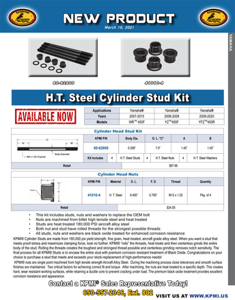 H.T. Steel Cylinder Stud Kit Flyer for Yamaha® Various 450's 2006-2020 picture