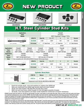 H.T. Steel Cylinder Stud Kit Flyer for Polaris® Various 570's and 900-1000's Applications picture