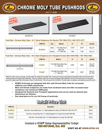 Superseded Pushrods Flyer for Various Norton® and Triumph® Applications picture