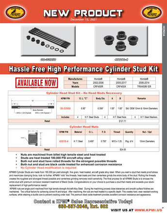 H.T. Steel, Std. OEM Dia. Cylinder Stud Kit Flyer for Honda® Various 450's Applications picture