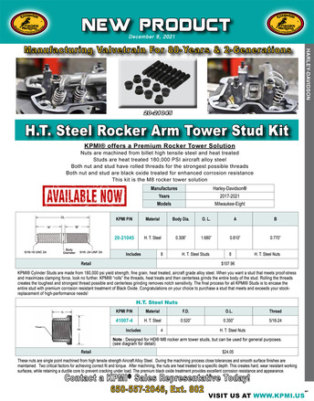 H.T. Steel Rocker Arm Tower Stud Kit flyer for HD® Milwaukee-Eight™ 2017-2020 picture