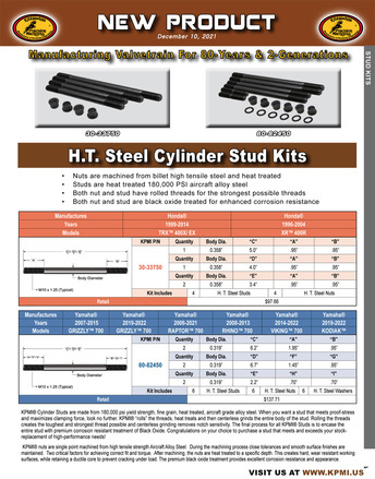 H.T. Steel Cylinder Stud Kit Flyer for Various Honda® and Yamaha® Applications picture