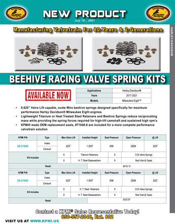 Beehive Racing Valve Spring Kit flyer for Harley-Davidson® Milwaukee-Eight™ 2017-2019 picture