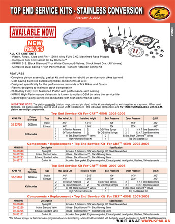 KPMI® Top End Service Kit Flyer picture
