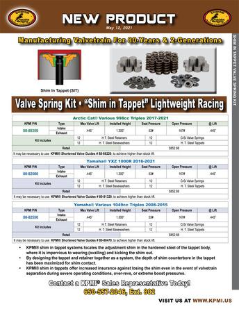 """Shim in Tappet"" Lightweight Racing Valve Spring Kit Flyer picture"