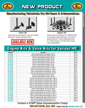 Engine and Valve Kit flyer for Various HD® Applications picture