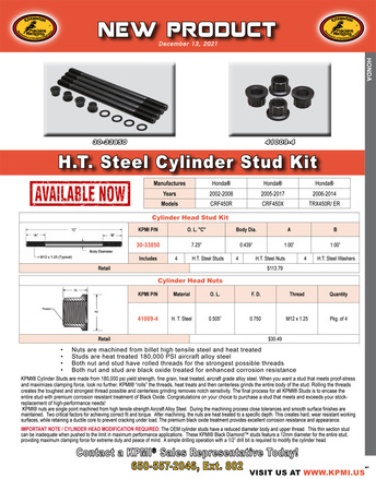 H.T. Steel Cylinder Stud Kit Flyer for Honda® Various 450's Applications picture