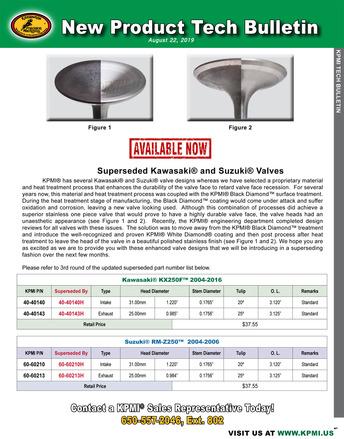 KPMI® Tech Bulletin - Superseded Kawasaki® KX250F™ 2004-'16 and Suzuki® RX-Z250™ 2004-'06 Valves picture