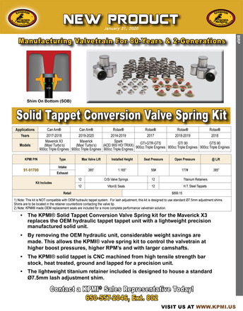 Solid Tappet Conv. Valve Spring Kit Flyer for BRP® Rotax ®  ACE 900cc Triple Engines 2014-2020 picture