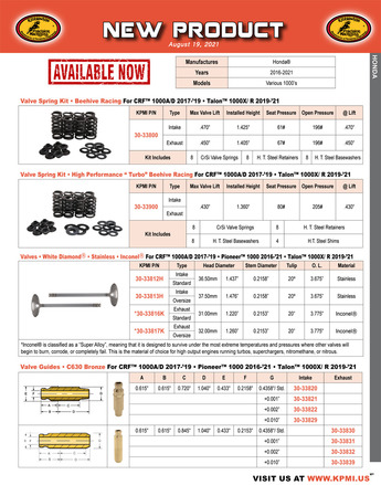 Beehive Spring Kit and Component Flyer for Honda®  Various 1000's Applications picture