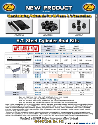 H.T. Steel Cylinder Stud Kit flyer for Suzuki® GXS-R™ 750 and 1000's Applications picture