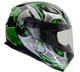 Vega Ultra II Full Face Helmet (Green Shuriken, Small)