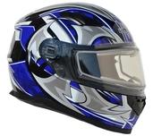 Vega Ultra 2 Snowmobile Helmet w/Heated Shield (Blue Shuriken, X-Large)