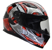 Vega Ultra II Full Face Helmet (Red Shuriken, Medium)