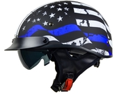 Vega Warrior Half Helmet (Back the Blue, X-Small)