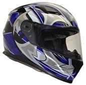 Vega Ultra II Full Face Helmet (Blue Shuriken, Small)