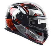 Vega Ultra II Full Face Helmet with Dual Lens Snow Shield (Red Shuriken, Small)