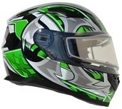 Vega Ultra 2 Snowmobile Helmet w/Heated Shield (Green Shuriken, X-Small)