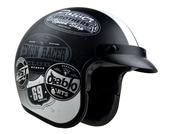 Vega X380 open face helmet in Old School Monochrome Graphic on Flat Black size Medium